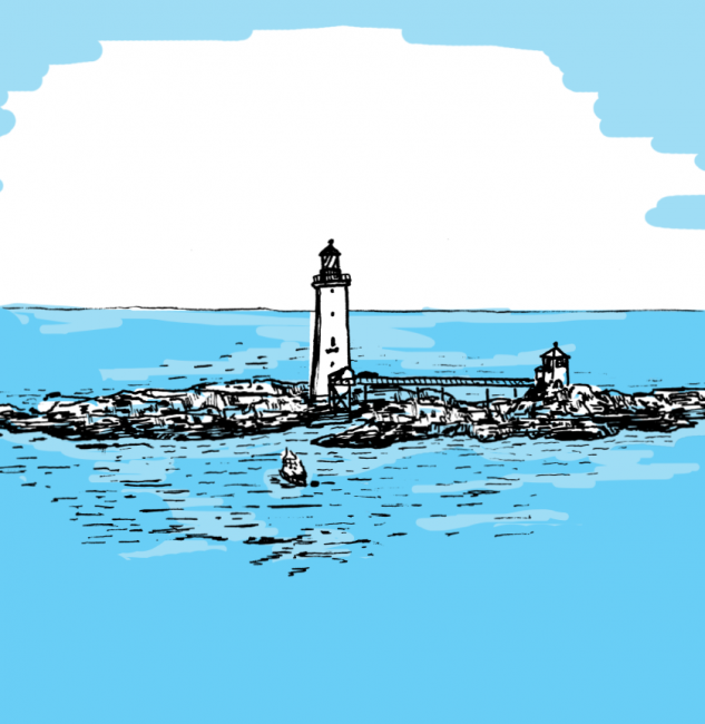 A drawing of a lighthouse on a rocky island, surrounded by bright blue water